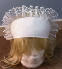 fits child+adult victorian edwardian fancy dress white band hat sissy maid alice