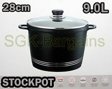 Base di Induzione Piano Cottura pressofuso STOCK stufato Cottura Pan Pot STOCKPOT Coperchio in vetro 28 cm