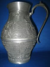 "Antique 8"" German Embossed Pewter Container Handle Engraved Series Lindenwirtin"