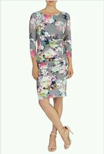 COAST SARALISE PRINT JERSEY 3/4 SLEEVE FLORAL PRINT DRESS SIZE 16 NEW WITH TAGS