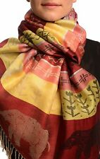 Silver Lurex and Elephants On Burgundy Red Pashmina With Tassels (SF002636)