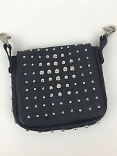 "Motorcycle Biker 9""X8""X2"" Bag Pouch Purse Black Leather Studs Clip-On Belt Loops"