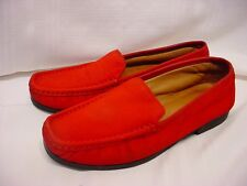 LADIES SZ 5.5 M CLARKS RED NUBUCK LEATHER FLAT LOAFERS