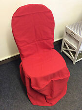 10x New Sealed Red Wedding Chair Covers Polyester Cotton Banqueting Chair OX