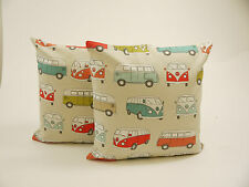 A Pair of Vintage VW Cotton Camper Van  Cushions (Complete with Quality Pad )