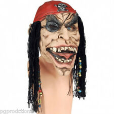 PIRATE MASK With BEADS Scary Rubber Latex Costume Red Cap Halloween Hair Wig