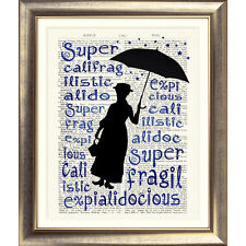 ART PRINT ON ORIGINAL ANTIQUE BOOK PAGE Mary Poppins Dictionary Picture Poster