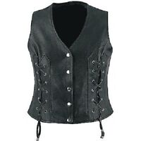 Sexy Real Black Leather  Ladies Bikers Waistcoat Vest Detailed Side Lacing (W4)