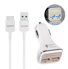 OEM USB 3.0 Data Sync Cable + 2.1A Dual CAR CHARGER for Samsung Galaxy S5 NOTE3