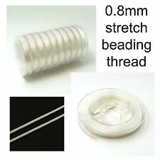 Elastic Stretch Thread Beading Wire White 0.8mm 10m Roll for jewellery sewing