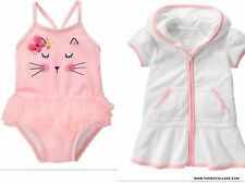 GYMBOREE NWT BABY ROSEBUD KITTY SWIMSUIT AND COVERUP 12-18 MONTHS