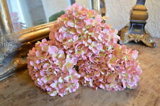 Bunch of 3 Antique Pink Faux Silk Hydrangeas, Realistic Artificial Silk Flowers