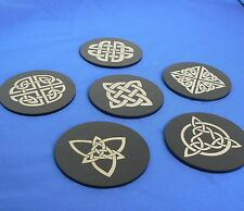 "Celtic Knots Patterns ""CK4"" Welsh Slate Coasters, boxed set of 6"