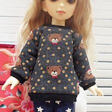 bjd yosd 1/6 doll clothes, Top t-shirts soft bear charcoal