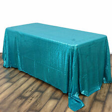 "90x156"" Turquoise SEQUIN RECTANGLE TABLECLOTH Wedding Party Catering Linens SALE"