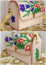 60s Deerskin Hand Painted Colorful Flowers Fern Vines W.B. Place & Co. Purse