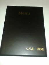 TWENTY (20) A4 MENU FOLDERS IN BLACK WITH YOUR BUSINESS NAME EMBOSSED IN GOLD