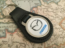 MAZDA Quality Black Real Leather Keyring 1