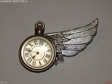 steampunk brooch badge time flying right wing watch clock Alice in Wonderland