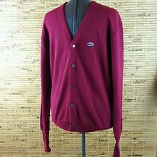 VTG IZOD LACOSTE MEN'S RED CARDIGAN SWEATER SIZE XL Extra Large BLUE CROC