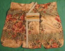 Cream, Maroon & Green Silky Tapestry Print Kimono for My Size Barbie MYCS02