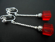 A PAIR OF LOVELY  SILVER PLATED RED SQUARE BEAD DROP CLIP ON EARRINGS. NEW.