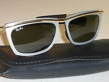 1980's VINTAGE B&L RAY BAN WHITE PEARL STRIPED/GOLD G15 OLYMPIAN II SUNGLASSES