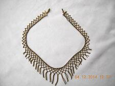 """Delicate, vintage goldtone web mesh skein necklace 16"""" long"""