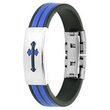 Thin Blue Line  Cross Stainless Steel Plate 2-Tone Maze Rubber Straps Bracelet