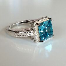 $70 TGW 2.50 ct Light Turquoise SWAROVSKI ELEMENTS Sterling Silver Ring Size 5