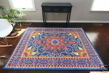 NEW 6x8 Isfahan BLUE Orange Red Oriental Modern Persian Multicolor Area Rug 5x7