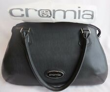 NWT Black Nero CROMIA Italy Saffiano Textured Leather Satchel Tote Handbag Purse