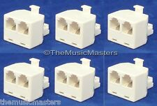 6X Modular TELEPHONE Line Cable Wall Outlet SPLITTER Double Jack Connector VWLTW
