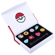 Anime Pocket Monster Pokemon Gym Badges 8pcs Pin Kanto League Brooch White&Red