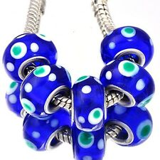 5Pcs Silver Violet charms Crystal MURANO GLASS lampwork european beads Fit all
