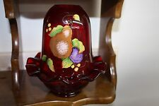 FENTON GLASS FAIRY LAMP HAND DECORATED FRUIT DESIGN & SIGNED BY C. RIGGS