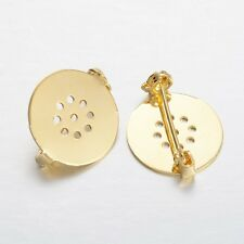 10PCS Flat Round Brass Pin Back Brooch Findings DIY Base Clip Golden 18mm