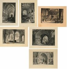 Stampe antiche LOTTO 6 Vedute CHIESE INGLESI British Cathedrals 1845 Old prints