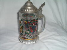 Vintage Pewter LIDDED BEER MUG STEIN GLASS GERMAN GLASS With Coat of Arms