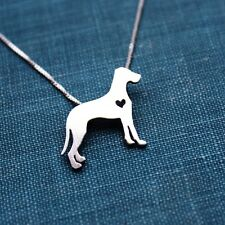 "Great Dane Natural Ears Itty Bitty Sterling Silver 16"" Necklace - FREE Shipping"