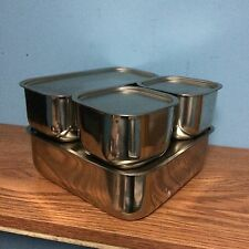 (4) Vintage Vollrath Stainless Steel Refrigerator Dishes with Lids - Excellent