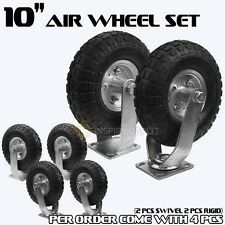 "4PCS 10"" Air Tire Pneumatic 2 Swivel Caster + 2 Rigid Wheels Cart Industrial HD"