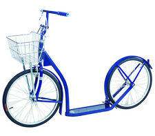 "20"" Adult SCOOTER Kick Foot Bike Basket Hand Brake Racing Wheels Amish Made BLUE"