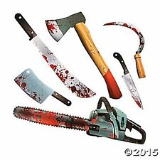 HALLOWEEN HORROR CHOP SHOP BLOODY WEAPON DECORATIONS (6PC SET) assorted lot