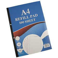 100 Sheet A4 Refill Punched Ruled Lined Writing Pad Pack Book Wide Rule Margin