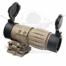 Tan Tactical 3x Sight Scope Magnifier Flip-to-side Picatinny Weaver Rail Mount