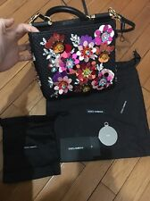 Dolce & Gabbana Black Raffia Straw Small Bead Sicily Bag Embellished Authentic