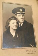 Black & White WW2 US Military USN NAVY Portrait Sailor Sweetheart Wife Date 1943