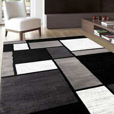 Modern Contemporary Black White Grey Geometric Block Boxes Area Rug 7'10 x 10'2