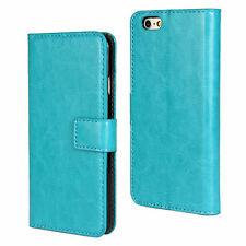 "For iPhone 6/6s 4.7"" Turquoise Genuine Leather Cash Card Wallet Case Cover"